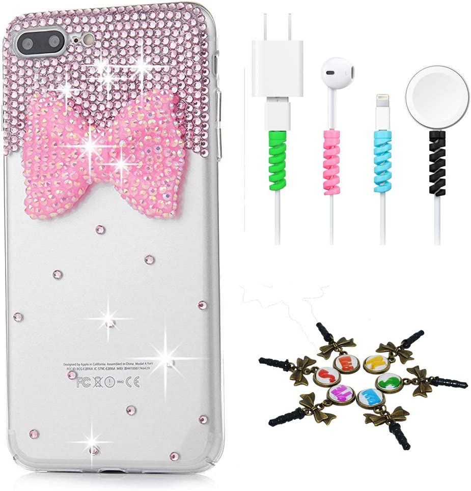 - Pink Sparkle Series 2 Pack Stylish STENES Bling Case Compatible with iPhone 5C Big Bling Bow Bowknot Design Cover with Screen Protector 3D Handmade