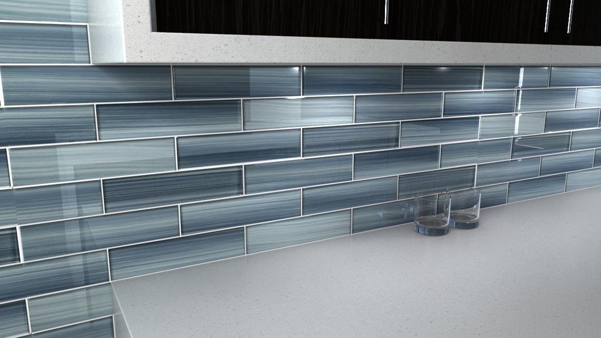 Deep Ocean Blue Gentle Grey Glass Tile