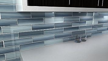 Deep Ocean Blue Gentle Grey Glass Tile Perfect For Kitchen Backsplash Or Bathroom 3x12