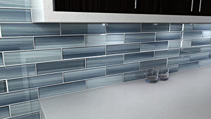 Deep Ocean Blue, Gentle Grey Glass Tile Perfect For Kitchen Backsplash Or  Bathroom, 3x12