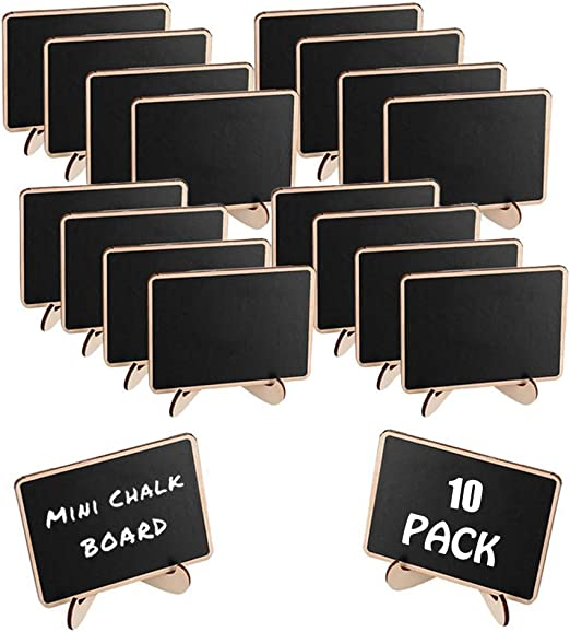 20Pcs Mini Wooden Blackboard Wedding Party Chalkboard Sign Message Table Stand