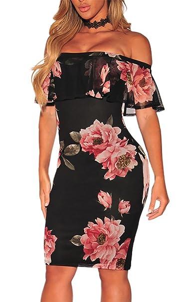 MYWY - Abito corto vestito donna elegante aderente fantasia floreale spalle  nude sexy-nero- 2352ed2f2f0