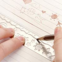 Minimew Hollowed-out Metal Bookmarks Scale Ruler, Creative Multi-Function