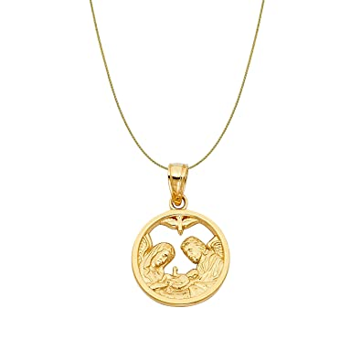84d28f13d Amazon.com: Precious Stars 14k Yellow Gold Fancy Round Baptism Pendant  0.90-mm Wheat Chain: Jewelry