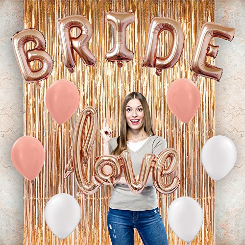 236b943f6bb Bachelorette Party Decorations   Bridal Shower kit! Set Includes Rose Gold  Bride Foil Balloon