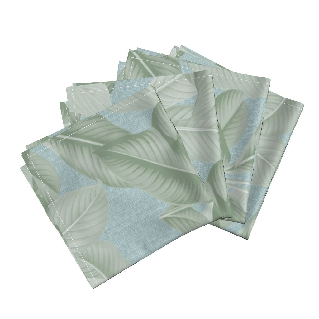Roostery Palm Tropical Leaves Jungle Sage Island Linen Cotton Dinner Napkins Palm In Palm ~ Sage On Steel by Peacoquettedesigns Set of 4 Dinner Napkins by Roostery