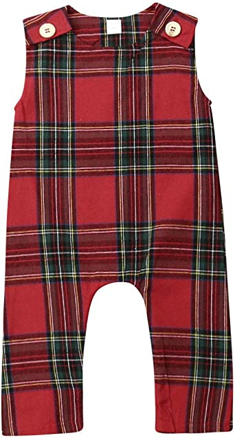 Christmas Brother Sister Boy Girl Red Plaid Jumpsuit /& Suspender Dresses Outfits