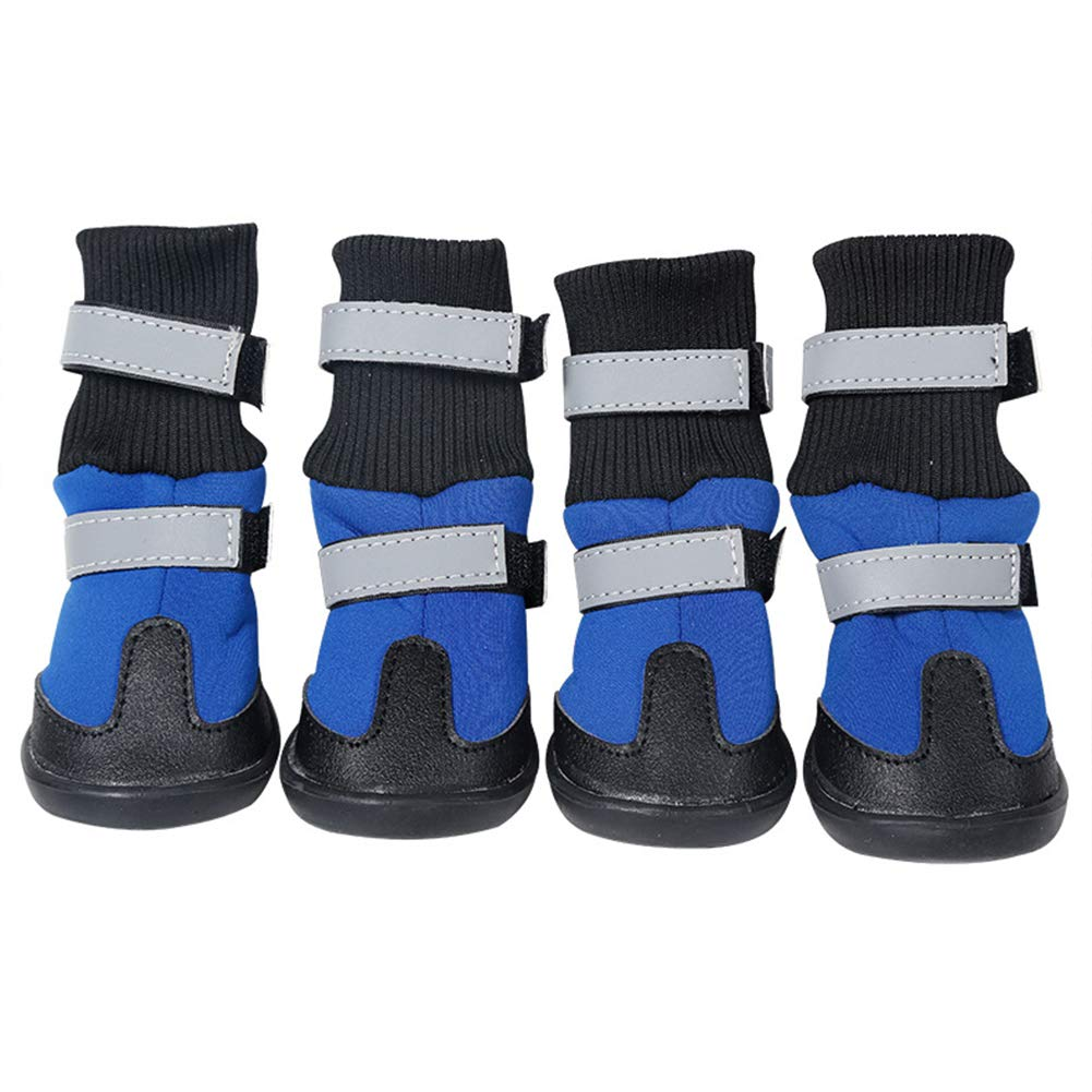 bluee XL bluee XL Waterproof Dog shoes Anti Slip Reflecting All Wheather Dog Boots Pet Snow Boots shoes