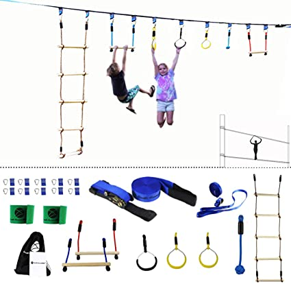 Gentle Booms Sports Ninja Line Obstacle Course Kit Monkey Bar Kit 56 Foot, Kids Slackline Hanging Obstacle Course Set, Extreme Training Equipment for ...