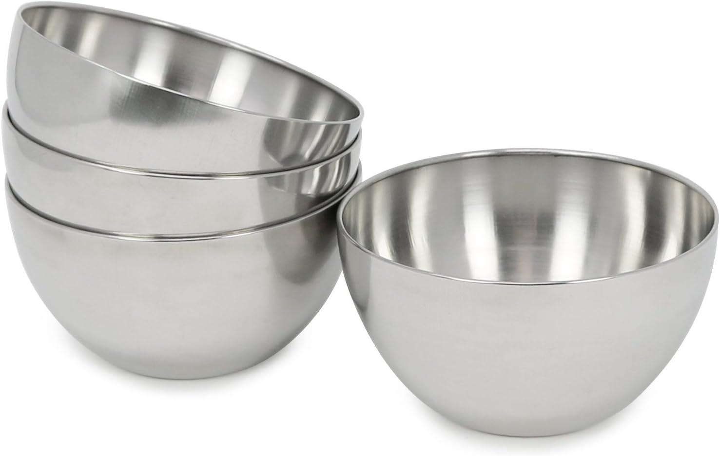 com-four® 4x cuencos de metal, que sirven para salsas, bocadillos y entrantes o postres (04 piezas - grandes)