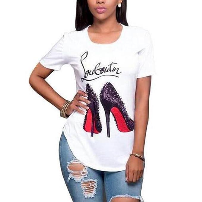 Hibote Blusa de Las Mujeres Zapatos de Impresión de La Camiseta Mujeres de Manga Corta Cuello