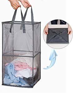 Emoly Mesh Popup Laundry Hamper with Handles, Portable & Durable Collapsible Dirty Clothes Mesh Basket Foldable for Washing Storage, Kids Room,College Dorm or Travel (Double -Layer, Grey)