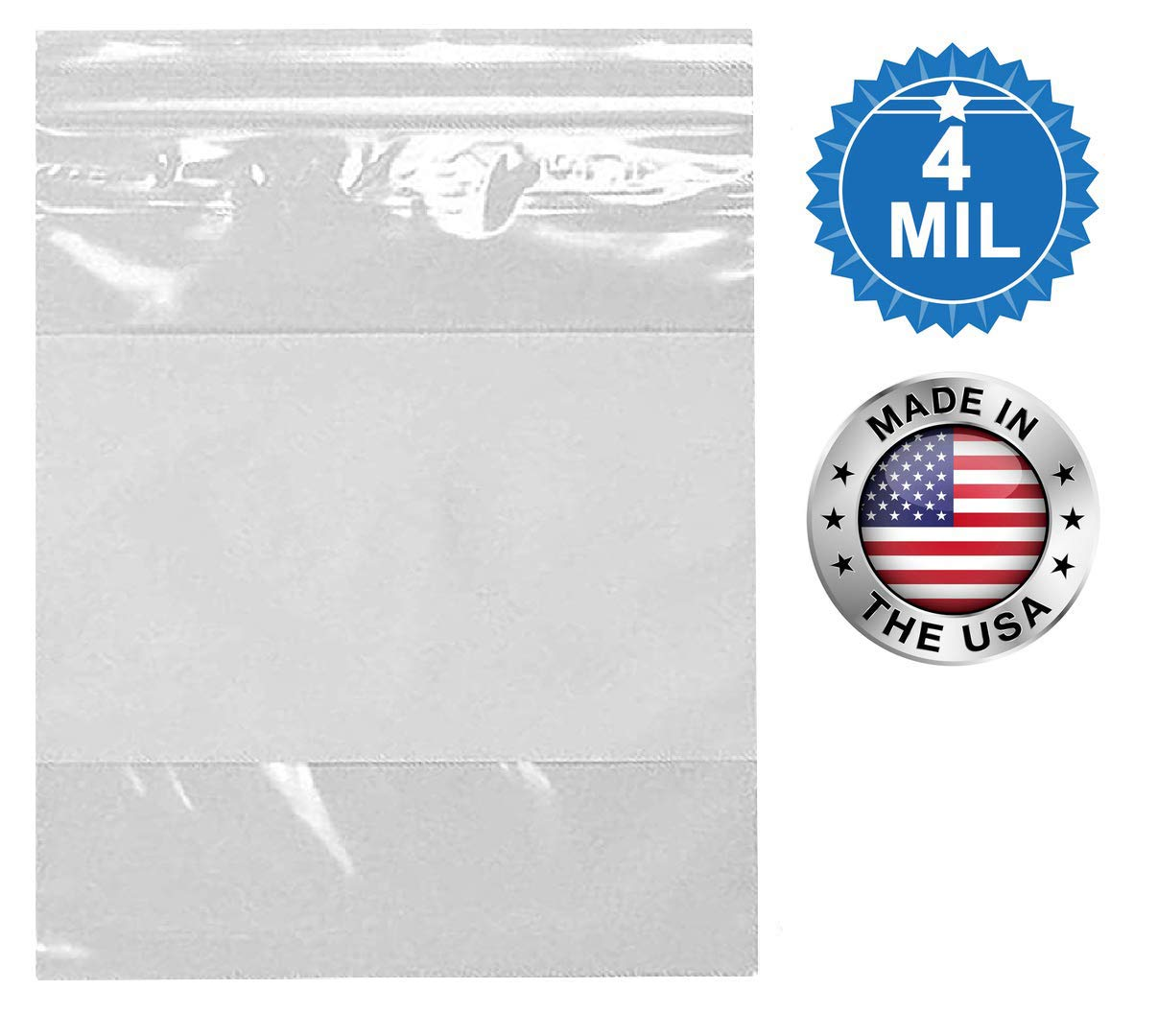 Thickness 4 mil APQ Pack of 100 White Block Zip Lock Bags 8 x 10 Great for Packing and Storing Ideal for Industrial Ultra Thick Write on Block Poly Bags 8x10 Pills Bags Health Needs.