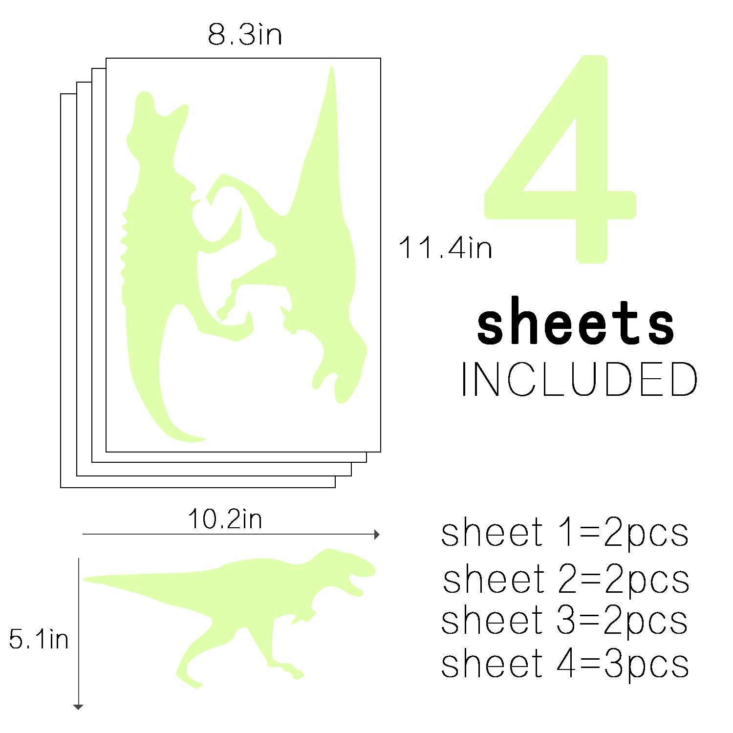 Glowing Cute Dinosaur Stickers Bright and Realistic Wall Decals for Kids Bedroom Wall Decor Luminous Dinosaurs Stickers for Ceiling Decor 9 Pcs Sunm boutique Glow in the Dark Stars Wall Stickers Dinosaurs