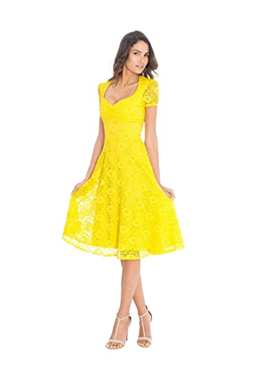 50306bc8b9e Goddiva Yellow Lace Lined Sweetheart Midi Cocktail Dress 8  Amazon.co.uk   Clothing