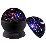 Projector Lamp, Star Light Rotating Projector,Christmas Gifts for Men Women Kids Baby Bedroom,Star Moon Celling Lights for Sleep Relax or Party (Black)