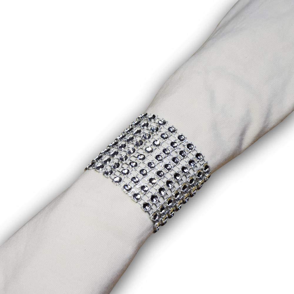 SKY CANDYBAR 100 Pcs Rhinestone Napkin Rings Diamond Silver