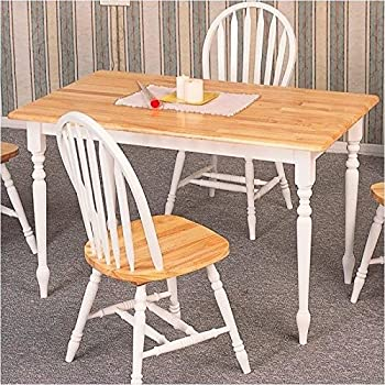 this item coaster country butcher block oak and white finish wood dining table - Kitchen Oak Table