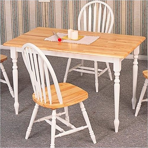 Coaster Country Butcher Block Oak and White Finish Wood Dining Table