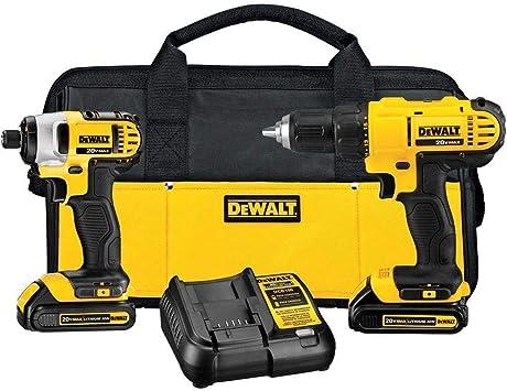 Dewalt Brush 20v Max Cordless Drill Combo Kit 2 Tool Dck240c2 Yellow Black Drill Driver Impact Combo Kit Amazon Com