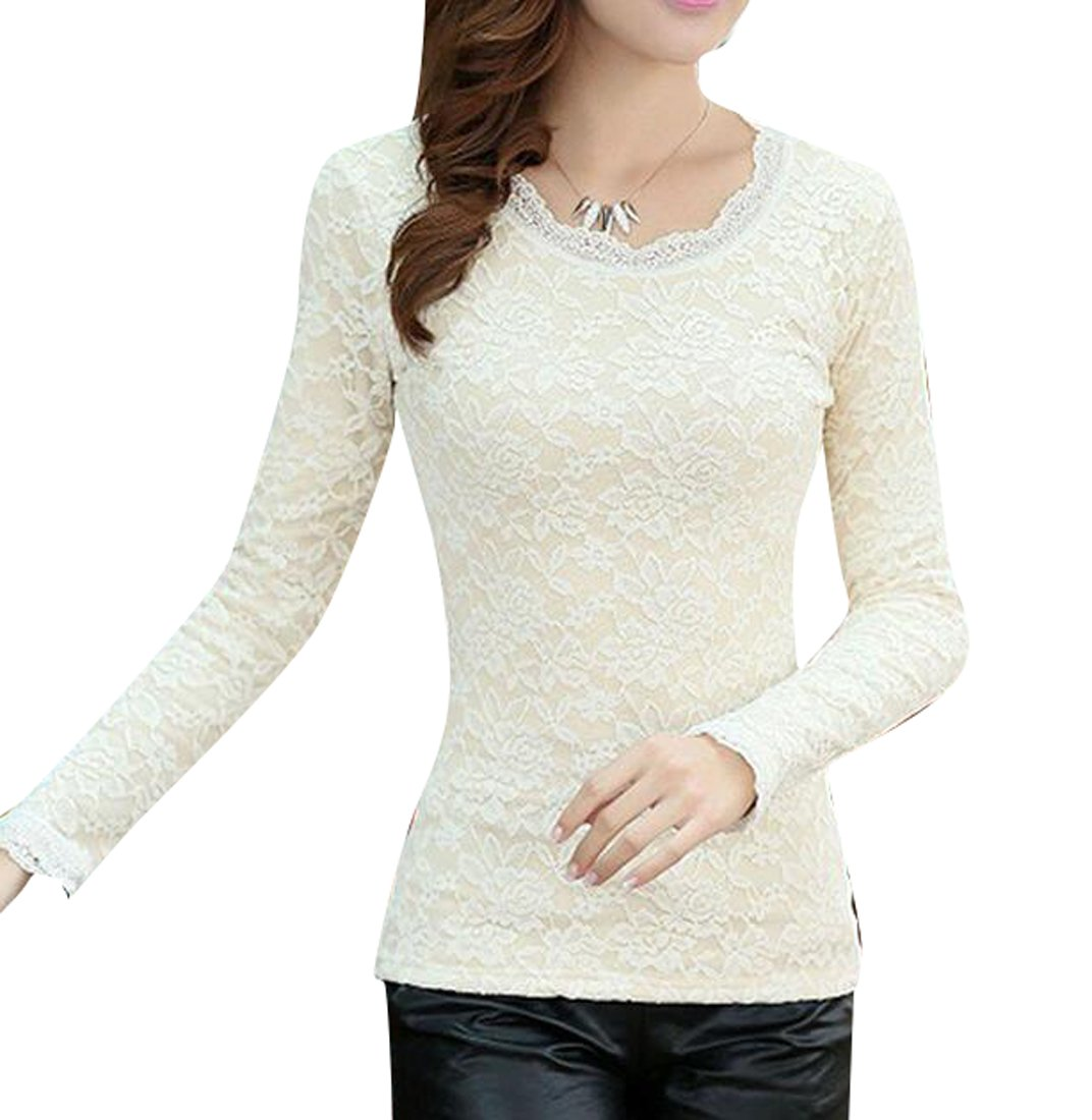 Pivaconis Womens Winter Long Sleeve Fleece Lined Thicken Thermal Shirt Blouse Tops Apricot L