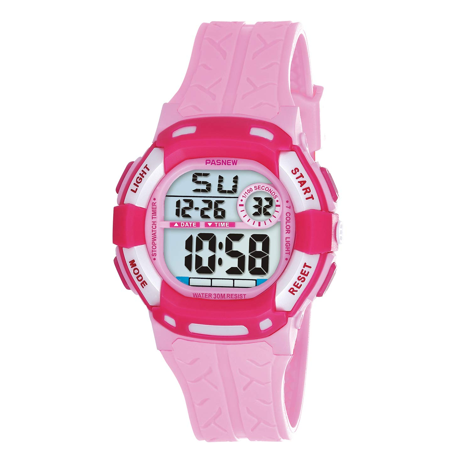 PASNEW Kids Watches Waterproof 100FT Digital Sports Wristwatch with 7-Color Flashing LED Light Alarm Stopwatch Chime Date Day Pink Rose