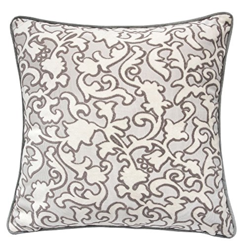 Homey Cozy Modern Velvet Throw Pillow Cover,Gray Unique Ivory Floral Luxury Soft Fuzzy Cozy Warm Slik Decorative Square Couch Cushion Pillow Case 20 x 20 Inch, Cover Only