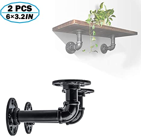 """4 sets 10/"""" Iron Fittings Rustic Pipe 1//2/"""" Industrial DIY Shelf Brackets Flanges"""