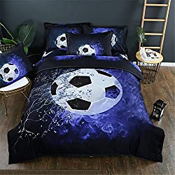 NOOS 3D Football Duvet Cover set Boys ice and Blue Flames Pattern Sports Themed Bedding set Duvet Cover Bed sheet,3pcs 1 Duvet Cover 2 Pillowcase Twin Full Queen King Size