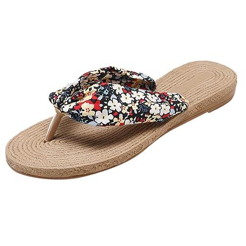 4b1e04e00e6 Liqiqi Zuecos Verano Mujer Zapatillas de Playa y Zapatos para Nadar 2019  Flip-Flop Imprimir