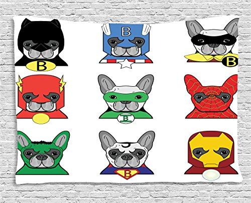 Superhero Couples Costumes List (Superhero Tapestry Wall Hanging by Ambesonne, Bulldog Superheroes Fun Cartoon Puppies in Disguise Costume Dogs with Masks Artprint, Bedroom Living Room Dorm Decor, 60 W X 40 L Inches, Multicolor)