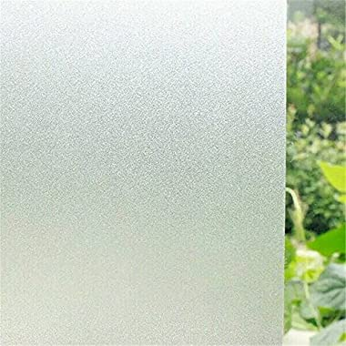 Cyber Roll Window Film No Glue Pure Frosted Privacy Static Self-Adhesive Cling Stained Glass Decoration Membrane 17.7-by-78.7-Inch