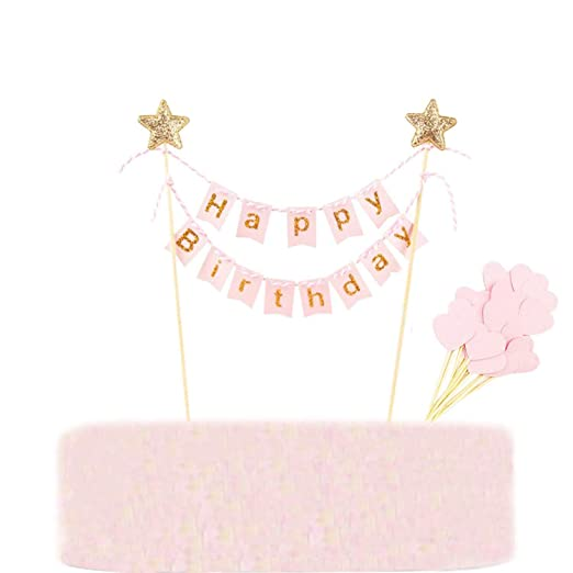 Cake Topper Happy Birthday Banner Pink, Feliz Cumpleaños Pastel Topper Rose, Y 30 Piezas Cupcake toppers, Decoracion de fiesta de cumpleaños (31 ...