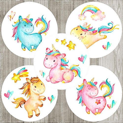 Unicorn Sticker Labels - Children Girl Birthday Baby Shower Party - Set of 50 by Adore By Nat