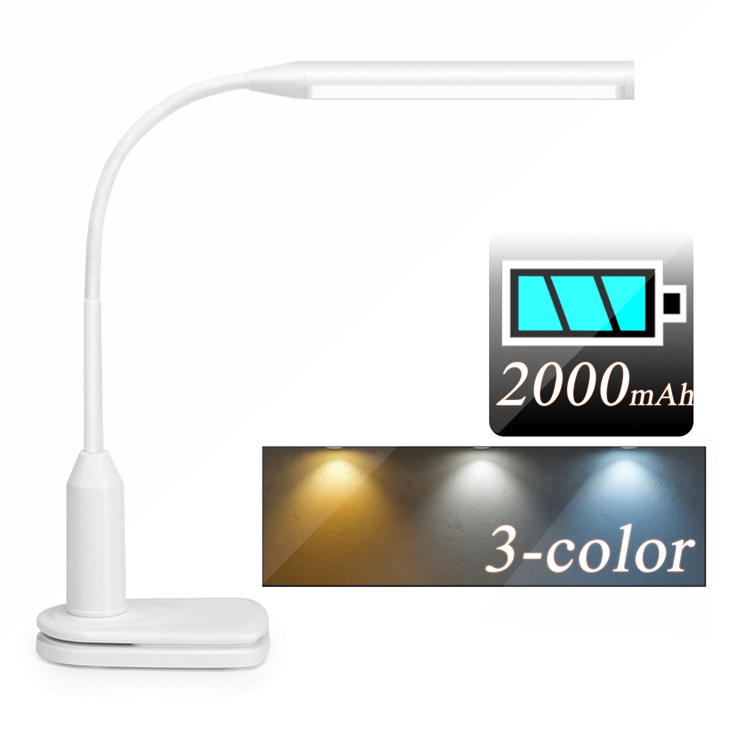 Rechargeable LED Desk Lamp with Clamp, Flexible Clip on Desk Light with Battery, 3 Lighting Modes, Stepless Dimmable, Touch Control, Eye-caring Reading Lamp for Offices Student Bed Work, 6W