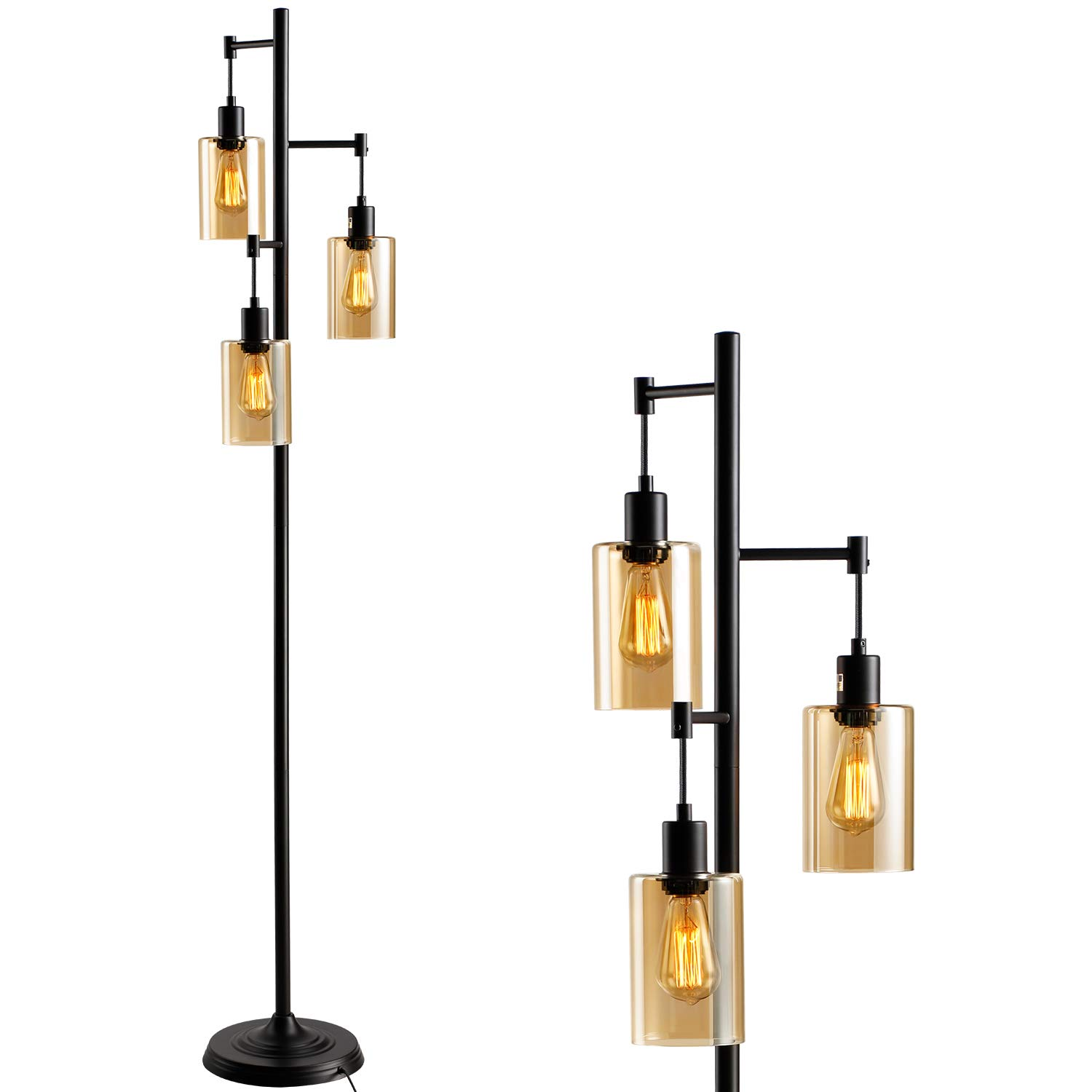 LEONLITE Amber Glass Track Tree Floor Lamp, 3-Head 40W Torchiere Lamp Fixture, 3 Bulbs Included, UL Listed, Retro Industrial Style, 2 Years Warranty, for Living Room, Study, Office, Bedroom
