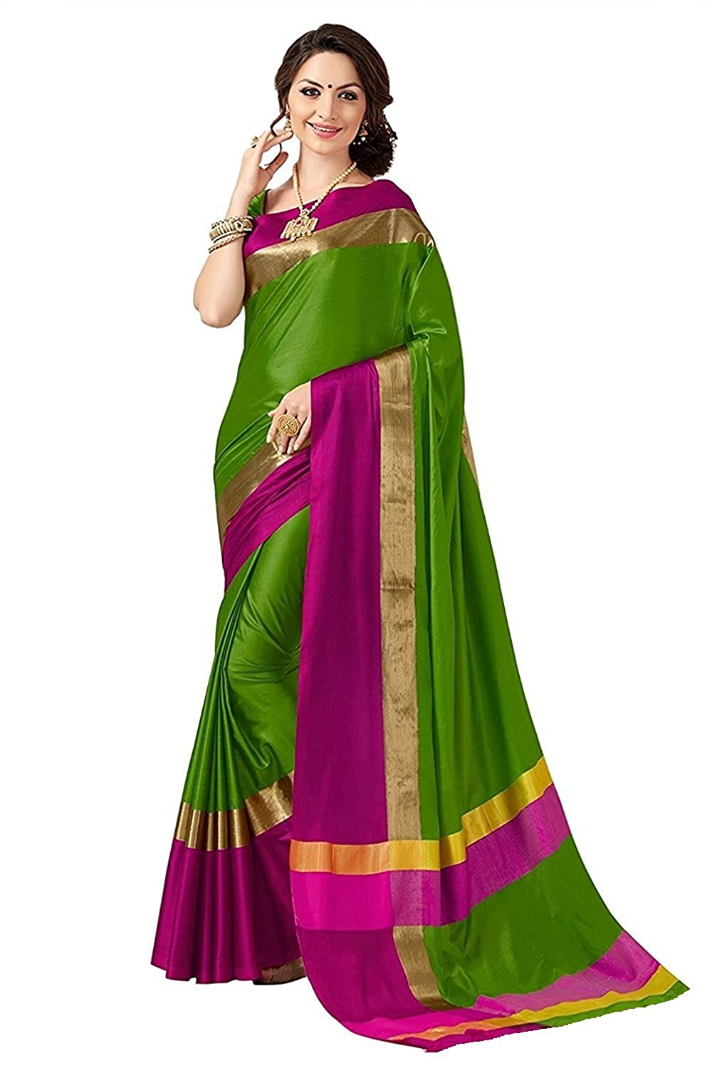 Indian Beauty with Blouse Piece Art Silk Saree