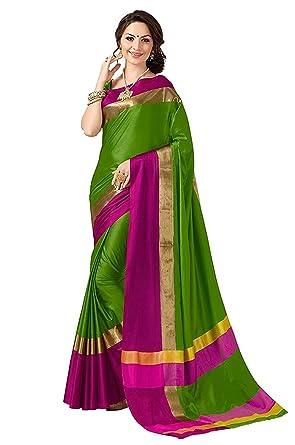 74e94254e18ba9 Indian Beauty Cotton Silk Saree with Blouse Piece (Blue N_Green_Free Size)