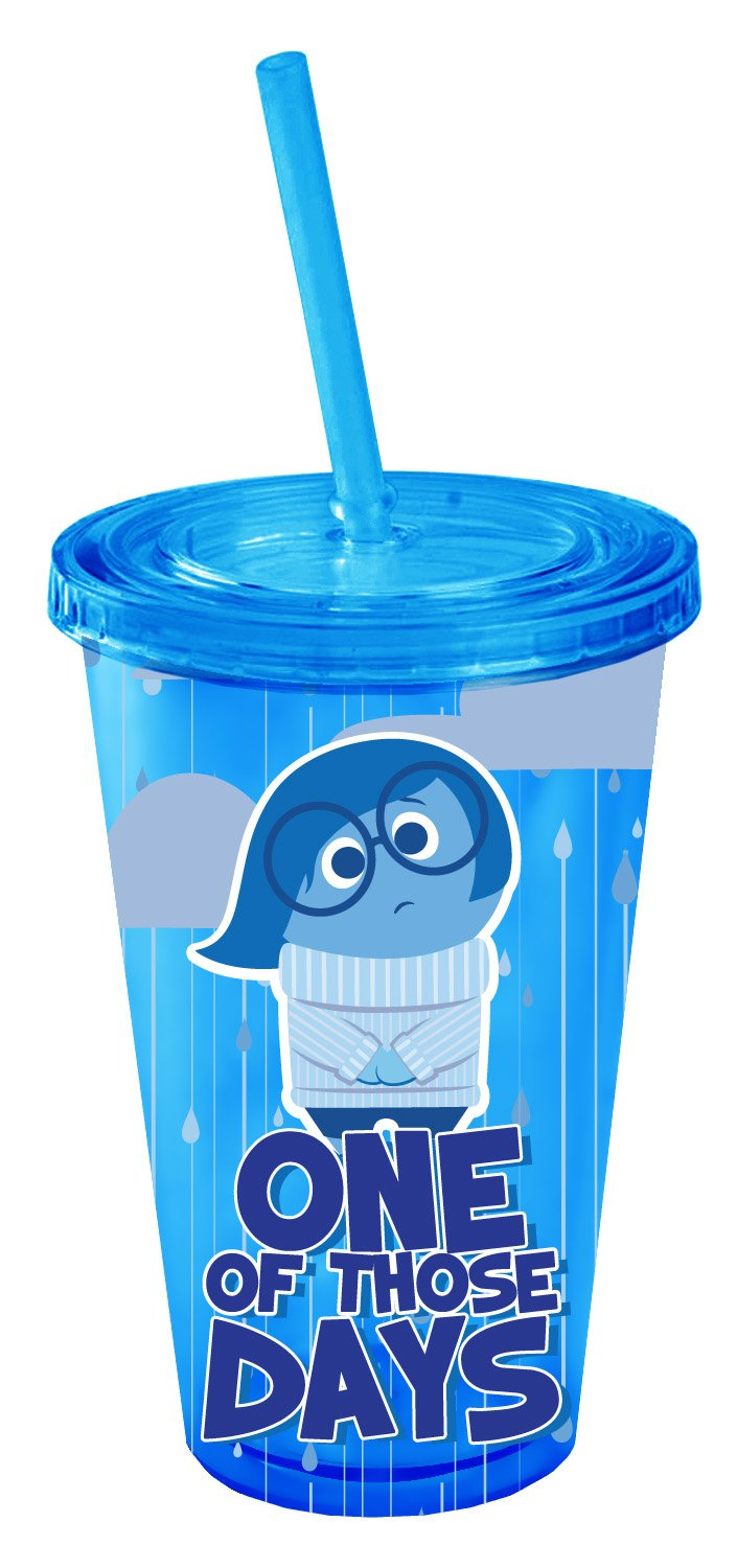 16-Ounces Silver Buffalo IO01087 Disney Pixar Inside Out Friends Plastic Cold Cup with Lid and Straw