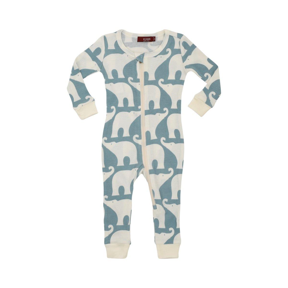 MilkBarn Organic Cotton Zipper Pajama - Blue Elephant (6-9 Months) by MilkBarn