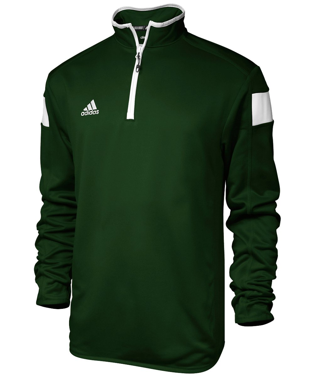 adidas climalite Shockwave 1/4 Zip Long sleeve, Collegiate Green/White, Small by adidas