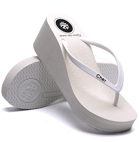 323cfca15366c OPIYNO Women Casual White EVA Platform Sandals Beach Wedge Thong Flip Flops  5.5M US