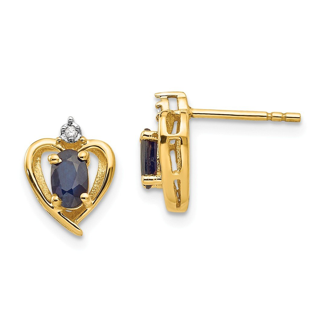 ICE CARATS 14k Yellow Gold Diamond Sapphire Post Stud Ball Button Earrings Birthstone September Love Set Style Fine Jewelry Ideal Mothers Day Gifts For Mom Women Gift Set From Heart