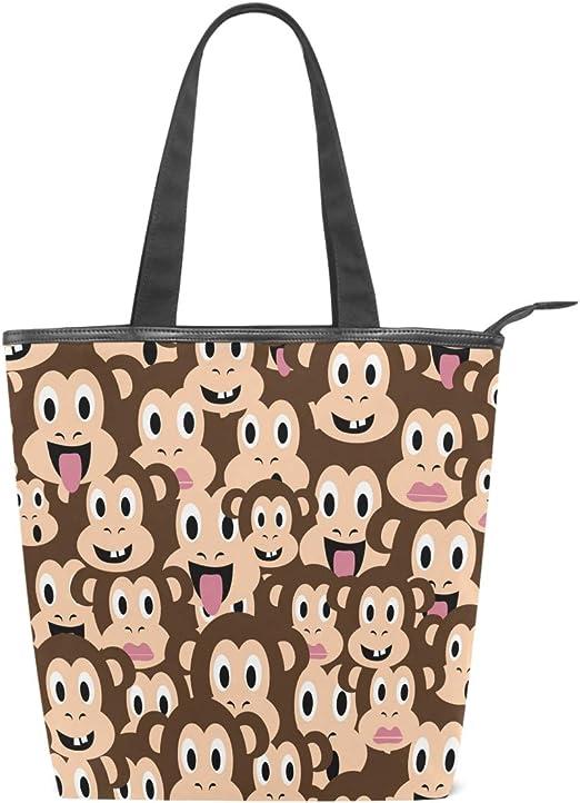 Monkey Emoji Damen Leinen-Einkaufstasche, Tier-Zyte