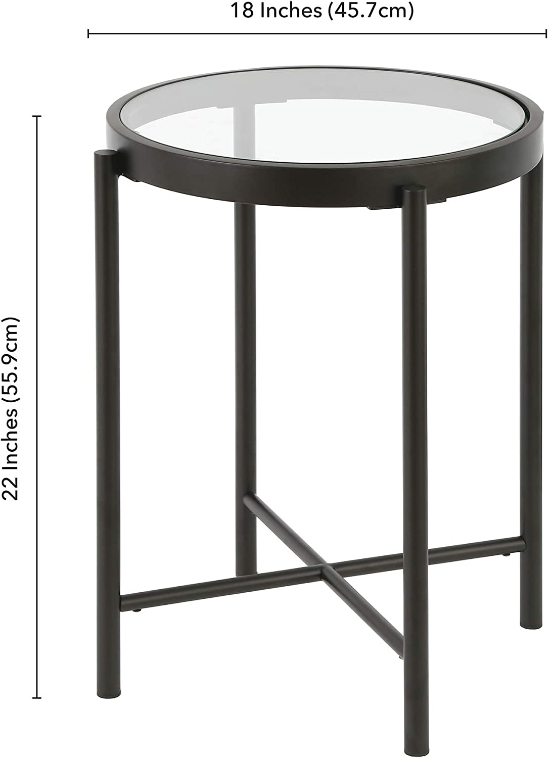 Henn&Hart Round Metal Base with Glass Top Side Table, Black