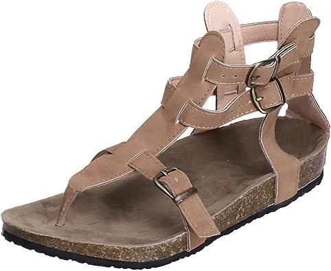 Amazon Com Zapatos De Verano Sandalias Cruz Correa Plana Tobillo Romano Casual Zapatos Señoras Hebilla Correa Casual Sandalias Shoes