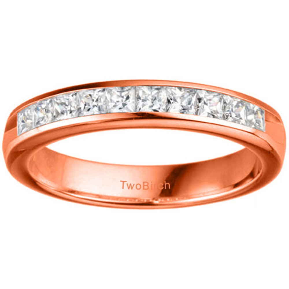 Size 3 to 15 in 1//4 Size Intervals TwoBirch 0.39Ct Channel Set Princess Cut Wedding Band in Sterling Silver CZ