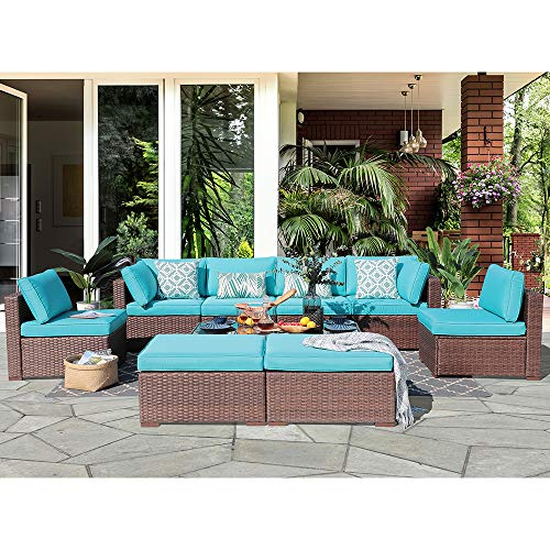 (OC Orange-Casual 10 Piece Outdoor Furniture Sectional Sofa Set Rattan Wicker Patio Conversation Set with Seat and Back Cushions & Coffee Table, Brown & Turquoise)