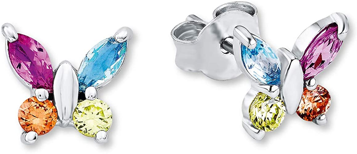 Damen Ohrstecker Schmetterling echt Silber 925 Süßwasserperlen Zirkonia B Ware