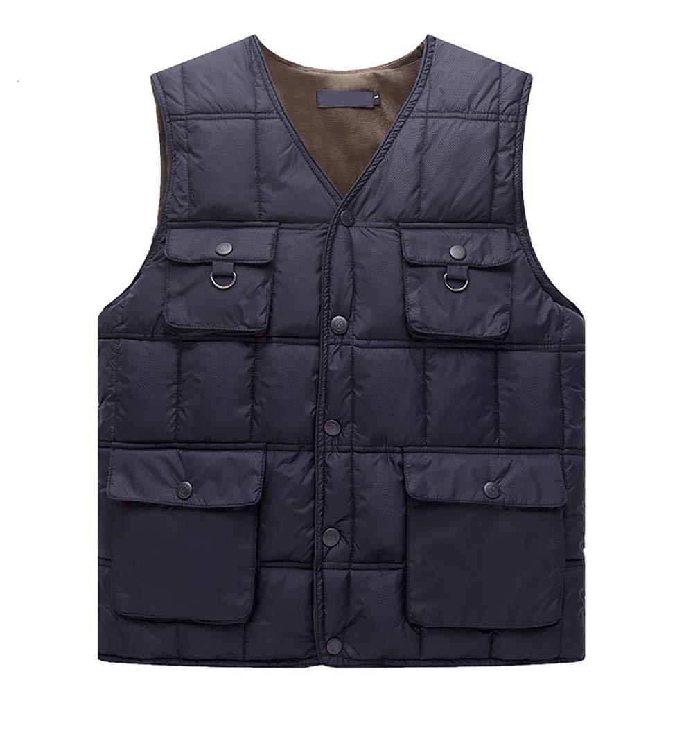 Warme Weste, Herren- Und Winterbaumwollweste Mit Vielen Taschen Für Männer Mittleren Alters